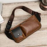 Hommes Faux Cuir Rétro Business Casual Multi-carry Taille Sac Poitrine Sac Sling Bag