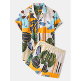 Tropical Leaves Print Color Block Drawstring Short Sleeve Casual Two Piece Sets