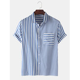 Herren Casual Striped Design Pocket Kurzarm Baumwollhemden