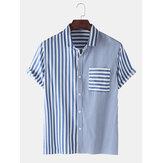 Mens Casual Striped Design Pocket Short Sleeve Cotton Shirts