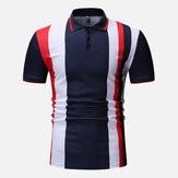 Men Colour Block Muscle Fit Golf Shirt