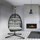 KCASA Rattan Schaukelstuhl mit hellgrauer Stuhlmatte Outdoor Indoor Wicker Tear Drop Hanging Lifts