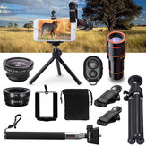 All in1 Telefono fotografica lente 12X Telescopio Selfie bastone Treppiedi Bluetooth remoto Kit