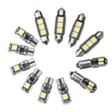 12 PCS Interior Do Carro LED Luzes Kit T10 BA9S Festão Dome Lâmpada Branca para BMW E36 3 Serie Convertible 1992-1998