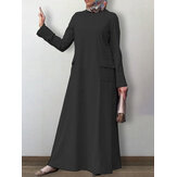 Women Solid Color O-Neck Long Sleeve Casual Maxi Dress Kaftan Tunic With Pocket