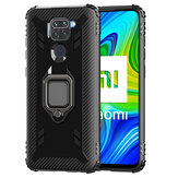 Bakeey for Xiaomi Redmi Note 9 / Redmi 10X 4G Case Carbon Fiber Pattern Armor Shockproof Anti-fingerprint with 360° Rotation Magnetic Ring Bracket PC Protective Case Non-original