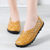 Large Size Women Hollow Handmade Stitching Soft Sole Comfort Leather Flats Loafers