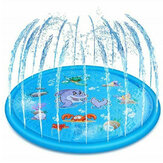 170mm PVC Blue Sprinkler Play Mat With Cartoon Pattern For Kids Summer Play