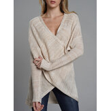 Irregular Cross Hollow Knit Casual Sweaters
