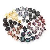 Beutiful kleur metalen polyedrale dobbelstenen multi-side dobbelstenen set voor DND RPG MTG rollenspel bordspel met stoffen zak