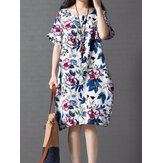 Vintage Women Loose Printing Short Sleeve Elegant Dress