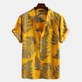 Pine Leaves Print Cotton Short Sleeve Relaxed Shirts