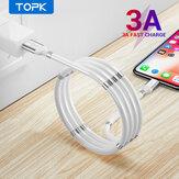 TOPK 3A Micro USB magnétique rétractable automatiquement Type C Câble de charge rapide pour Samsung S20 NOTE20 MI10 Note 9S OnePlus 8Pro
