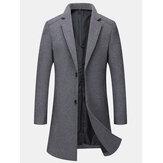 Casacos de lã masculinos à prova de vento de comprimento médio e de peito único