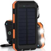 20000 mAh Carregamento Solar Power Bank SOS Modo Portátil Carregador Solar de Telefone Celular com Dual USB Portas de Carregamento LED Lanterna Mosquetão / Compass