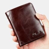 Ανδρικό γνήσιο δέρμα ρετρό διπλό πάχος RFID αντικλεπτικό κάτοχος κάρτας πορτοφόλι χρήματα κλιπ πορτοφόλι