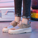 Women Retro Splicing Lace Up Slip Resistant Comfy Court Sneakers
