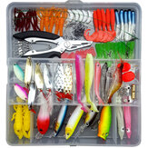 ZANLURE 142 Pcs Fishing Lures Set Hard Plastic Jig Spoons Soft Silicone BaitLure Artificial Hook Fishing Tackle with Pliers