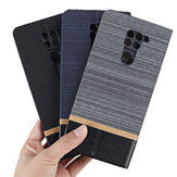 Bakeey Flip Stand Steel Layer Canvas Pattern with Lens Protector PU Leather Full Body Protective Case for Xiaomi Redmi Note 9 / Redmi 10X 4G