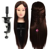 30% Echte Human Hair Hairdressing Training Mannequin Donkere Bruine Practice Head Clamp Salon Profession