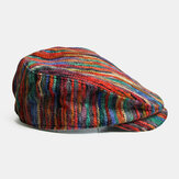 Unisex Tie-dye Rainbow Mixed Color Stripes Pattern Ethnic Style Casual Personality Forward Hat Beret Hat