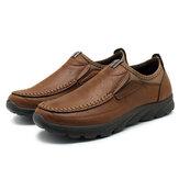 Heren lederen schoenen Handstiksels Slip op antislip Soft Ademende loafers vrijetijdsschoenen