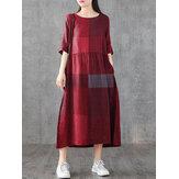 Robes maxi décontractées à manches longues à col rond et à carreaux pour femmes avec poche