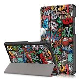 Tri-Fold Printing Tablet Case Cover for Lenovo M8 Tablet -Doodle Version