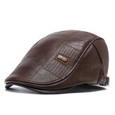 Collrown Men PU Leder Einfarbig Casual Retro Visier Sun Hut Forward Hut Beret Hut