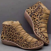 Women Large Size Suede Leopard Grain Slip On Comnfy Casual Ankle Short Boots