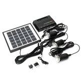 4W 6V Solar Panel + 3x LED Lamba USB Şarj Cihazı + Güç Bankası Ana Sayfa Bahçe Sistem Kit
