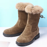 Plus Size Women Casual Straps Warm Plush Lining Mid Calf Snow Boots