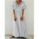 Women Short Sleeve V-neck Pleated Loose Solid Maxi Dress
