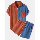 Mens Light Corduroy Patchwork Patch Pocket Elastic Waist Breathable Shirt & Shorts