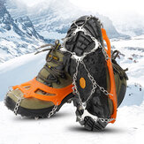 AUTO 12-teeth Ice Grip Stainless Steel Welding Chain Crampons Ice Cleats Non-slip Shoe Cover for Camping Climbing Snow Skiing