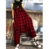 S-5XL Women Casual Cotton Loose Plaid Sleeveless Jumpsuit