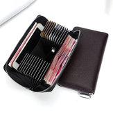Mężczyźni 24 gniazda kart Prawdziwej skóry 6 calowy telefon samochodowy torba długi portfel