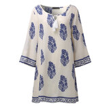 Women Retro 3/4 Sleeve V-Neck Lace Up Printed Boho Mini Dresses
