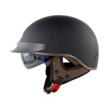 SOMAN SM202 Vintage Retro Half Face Motorcycle Helmet Electric Scooter Riding Cruise Safety Helmets With Inner Sun Visor Solid Color