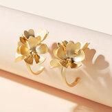 Vintage Metall geometrische Ohrringe Gold stereoskopische Blumenohr Manschette