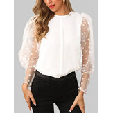 Polka Dot Lace Patchwork Puff Sleeve O-Neck Blouse