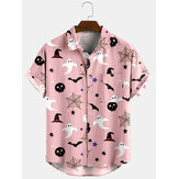 Halloween Cartoon Print Turn Down Collar Short Shirts