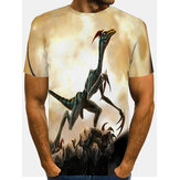 Mens Allover 3D Monster Print Round Neck Casual Short Sleeve T-Shirts