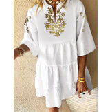 Bohemian Floral Print V-neck 3/4 Sleeve Plissado Mini Dress