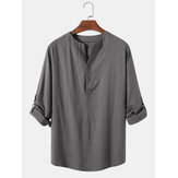 Mens Cotton & Linen Solid Color Long Sleeve Simple Henley Shirts
