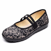 Women Floral Pattern Decor Elastic Band Old Peking Mary Jane Loafers