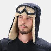 Unisex Kuzu Saç ve Kanvas Plus Kalınlaştırmak Sıcak Rüzgar Geçirmez Kulak Koruma Outdoor Kayak Şapka Tuzakçı Şapka