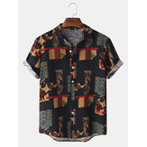 Mens Bandana Print Vintage Button Up Short Sleeve Casual Shirts