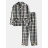 Mens 100% Cotton Plaid Print Double Pockets Long Sleeve Loose Fit Home Pajamas