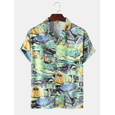 Mens Car Pattern Motel Landscape Casual Chemises à manches courtes